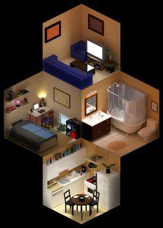 Living in isometric space by Albert Zablit, via Behance