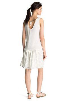 Esprit - Luftiges Jersey-Kleid mit Spitzenrock im Online Shop kaufen