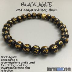"Black Agate OM Mantra ""The six syllables, Om Mani Padme Hum, mean that in dependence on the practice which is an indivisible union of method and wisdom, you can transform your impure body, speech and mind into the pure body, speech, and mind of a Buddha.""  - Dalai Lama ............Black Agate. Yoga Bracelets MeditationTibetan Buddhist Beaded Mala Men & Women. Om Mantra."