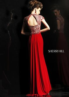 Gorgeous Red Beaded Evening Gown - Pageant - Prom Dress - Sherri Hill 2960 - RissyRoos.com