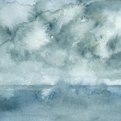 Storm on Lake, Landscape - archival print of watercolor painting - 4 x 4 or 8 x 8 inches by reneeanne on Etsy