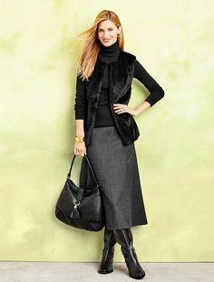 Talbots - Italian Flannel Riding Skirt in Shadow Heather sz. 12P $140