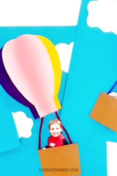 This keepsake Dr. Seuss inspired Oh the Places You'll Go Hot Air Balloon Craft is so fun! We've included a Free Hot Air Balloon Template, too! Letter A Crafts, Book Crafts, Hot Air Balloon Craft For Kids, Hot Air Balloon Classroom Theme, Preschool Crafts, Kids Crafts, Ballon Crafts, Balloon Template, Cool Paper Crafts