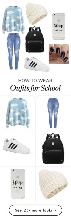 """""""school"""" by tumblerrr on Polyvore featuring adidas, Forever 21 and Accessorize"""