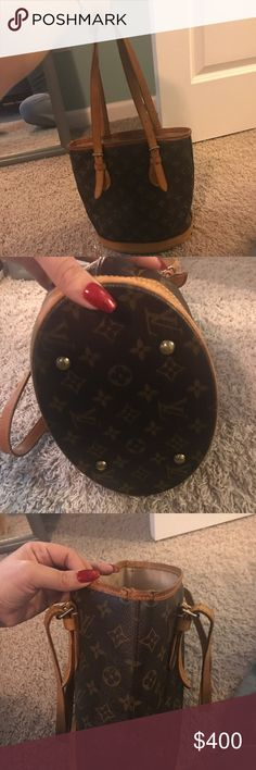 Small Bucket Inside is immaculate.  Authentic.  Patina on corners is slightly damaged. As shown in pics.  More pics upon request.  Comes with chain and small pouch.  Serials on both the bag and pouch match of course :-).  Does it come with box but will be packaged very well upon purchase. Louis Vuitton Bags Shoulder Bags