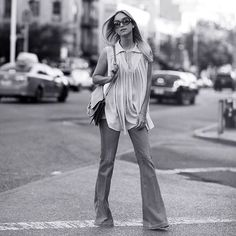 """""""Get your flares out girls, it's almost weekend ✨ • Photo by @jeffthibodeauco #CharlotteGroeneveld #ChloeGIRLS #Thefashionguitar #ThefashionguitarinNewYork"""""""