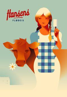 2015 Danish Modern Retro Poster, Hansen's Girl With Cow by Mads Berg Poster Art, Gig Poster, Art Deco Posters, Poster Retro, Old Posters, Travel Posters, Vintage Posters, Retro Advertising, Vintage Advertisements