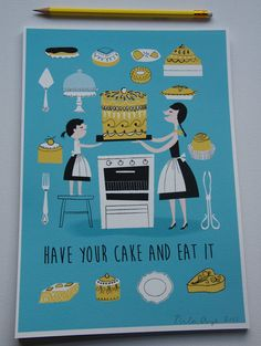Cake Lovers A4 signed print