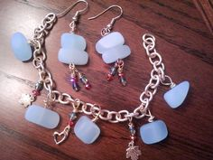 sea glass turquoise gold bracelet and by Edgeofmarshcreations, $60.00