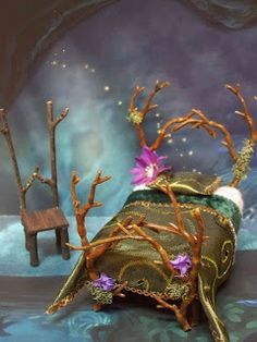 Elves Gnomes Faeries:  #Faery chair and bed, by Kiva's Miniatures.