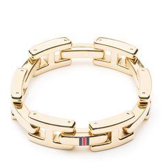 Gold-plated stainless steel Tommy Hilfiger link bracelet #TommyHilfiger