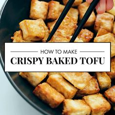 Here's how to make crispy baked tofu! This method uses the oven. It's SO DELICIOUS and easy. Here is how to make super crispy tofu in the oven. Recipe yields 4 servings of tofu, as a complement to a larger meal. Veggie Recipes, Whole Food Recipes, Cooking Recipes, Healthy Recipes, Easy Tofu Recipes, Recipes Using Tofu, Dinner Recipes, Eat Healthy, Tufu Recipes