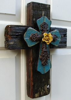 PC033 Rustic Natural & Turquoise Stacked  Cross with Yellow Rose. $70.00, via Etsy.