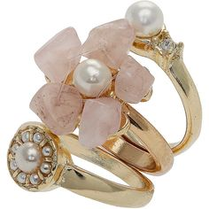 Flower And Pearl Look Stack Ring (€9,35) ❤ liked on Polyvore featuring jewelry, rings, accessories, anillos, gioielli, women, flower jewelry, pink pearl jewelry, blossom jewelry and pearl ring