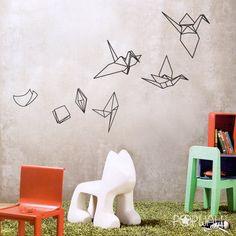 Wandtattoo - Papier entwickelt sich zu Origami Vogel Kran Wandt - ein Designerstück von popwall bei DaWanda