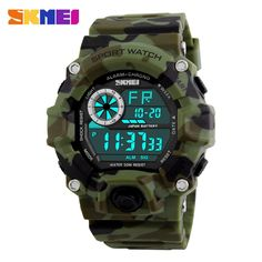 Cheap clock digital man, Buy Quality clock men digital directly from China clock digital Suppliers: SKMEI Army Camouflage led military wrist watches men relojes digital sports watches relogio masculino esportivo s shock clock Army Watches, Boys Watches, Mens Sport Watches, Wrist Watches, Nice Watches, Elegant Watches, Beautiful Watches, Digital Sports Watch, Digital Watch