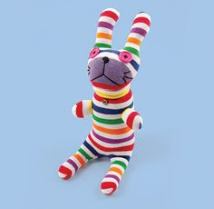 Our stripey little rabbits love to curl up with you and cuddle … Multi Stripe. 100% cotton sock material. www.kawaiianimals.com