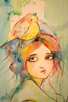 Gabi fventes - a girl after my own heart - I love to paint like this. I've also got a real urge to incorporate birds into my art... Lisa Wright