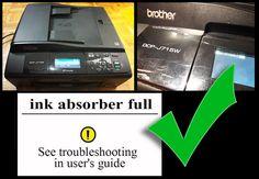 Drukarka BROTHER DCP-J715W - Pełny pochłaniacz atramentu - rozwiązanie, reset licznika w trybie awaryjnym, pełny tutorial pokazujący jak to zrobić