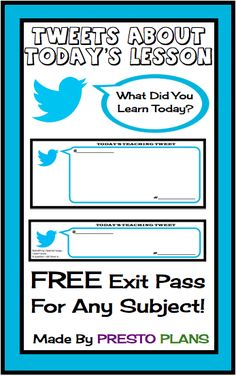 "FREE DOWNLOAD  How To Use: 1. As a formative assessment to see if students understood a concept. 2. As a way for students to ask questions about something they didn't understand (which I can address or ""tweet back"" the next day) 3. As a way for students to tell the teacher something they found interesting."
