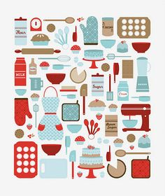 red  aqua kitchen print nice way to tie kitchen together