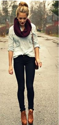 casual- Button up-Skinny jeans-scarf