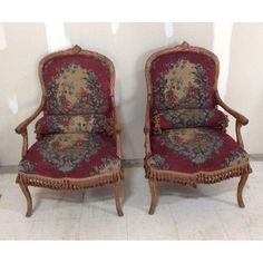 Image of Vintage Needlepoint Tapestry Tassel Faux Adirondack Armchairs - Pair