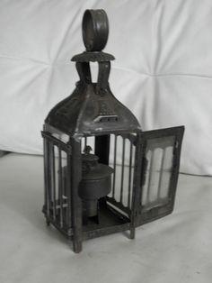 Antique Lantern Candle HOLDER BARN Lighting Lamp Vintage Primitive light   #Country