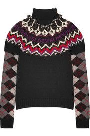 Intarsia wool, silk and cashmere-blend turtleneck sweater