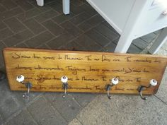 Solid pine coat rack hvy duty with French script love letters hand made by Tom @stonesinteriors