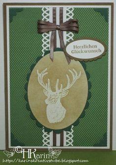 "Karins Kreativstube: Glückwunsch ""Hirsch"" grün/braun Blog, Christmas Ornaments, Holiday Decor, Home Decor, Christmas Jewelry, Cordial, Brown, Creative, Crafting"