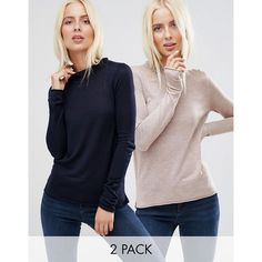 ASOS Sweater With Crew Neck in Soft Yarn 2 PACK (54 CAD) ❤ liked on Polyvore featuring tops, sweaters, multi, lightweight sweaters, crew sweater, asos sweaters, turtleneck sweater and asos turtleneck
