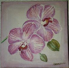 Orchid Painting Acrylic on Canvas Orchids Painting, Color Schemes, Old Things, Wall Art, Canvas, Artwork, Beautiful, R Color Palette, Tela