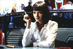 Pulp Fiction (1994) Uma Thurman's simple über cool style in the role of Mia Wallace in Quentin Tarantino's LA crime tale has endured. Black bras under crisp white shirts and of course that blunt black bob.