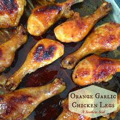 Orange Garlic Chicken Legs roasted in the oven until they're sticky, juicy & golden brown!