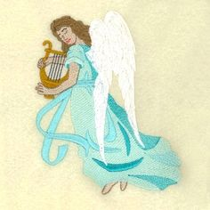 Heavenly Angel with Harp - 5x7