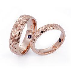 ハワイアンジュエリー 結婚指輪 マリッジリング ペアリング 海 リング ゴールド サファイア マイレ リーフ ウェディング wedding