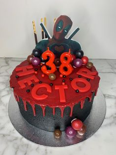 tarta dead pool Dead Pool, Birthday Cake, Desserts, Food, Fondant Cakes, Lolly Cake, Candy Stations, One Year Birthday, Tailgate Desserts