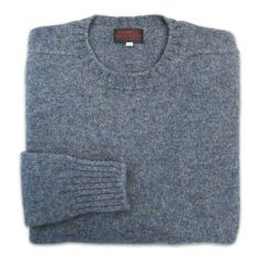 O'Connell's Scottish Shetland Wool Sweater - Blue Grey Marl