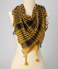 Take a look at this Yellow Houndstooth Plaid Scarf by Windhorse on #zulily today!