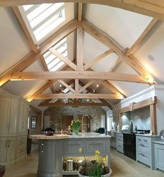Seasoned Oak Trusses in Farmhouse Kitchen Barn Kitchen, Country Kitchen, Kitchen Decor, Oak Frame House, House Goals, Beautiful Kitchens, Beautiful Homes, Kitchen Remodel, Building A House