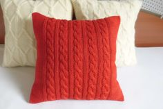 Custom cable knit pillow cover red pure cotton by Adorablewares, $36.00