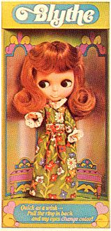 Blythe kenner doll 1972 in Redhead hair color. You could change her eyes with a pull of a drawstring at the back of her head to blue, pink, green and orange. Were only sold for one year in the U.S. #Kenner #Blythe doll only become popular some 30 years later.