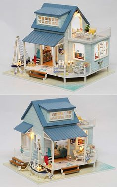 Doll House Miniature DIY Dollhouse With Furnitures Wooden House Toys For Children Caribbean S. - Doll House Miniature DIY Dollhouse With Furnitures Wooden House Toys For Children Caribbean Sea -