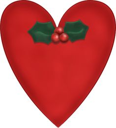 Free Christmas Graphics: Red Christmas Heart with Holly Graphic