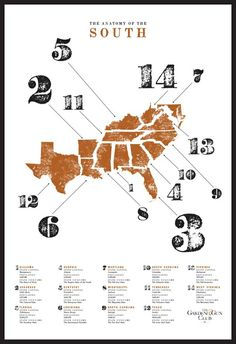 #12: I like this poster because the focus point is numbers. Most of the time we see numbers as secondary. But the numbers along with the image (map) are what captivates us, not the text. The colors used portray the 'dirty, dusty South' and the font choice is appropriate.