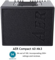 The Highest Rated Acoustic Guitar Amp between 50 & 100 Watts: AER Compact 60 Mk3 Acoustic Guitar Amp. 2 channels - Built-in digital effects including reverb, delay, chorus and flanger - XLR Mic Input w/ Phantom Power - Both Line and Balanced preamp DI Outs - Effects Loop.  It has a street price of $1199.