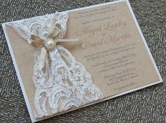 ABIGAIL - Lace & Burlap Wedding Invitation - Customizable - Pearls and Lace