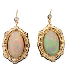 Victorian Revival Opal & Diamond Gold Drop Earrings