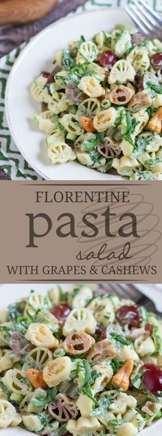 Florentine Pasta Salad with Red Grapes and Cashews Yummy Pasta Recipes, Quick Dinner Recipes, Healthy Salad Recipes, Side Dish Recipes, Noodle Recipes, Side Dishes, Rice Recipes, Veggie Recipes, Summer Recipes